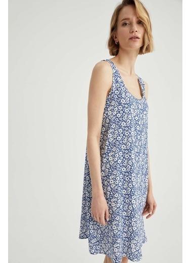 DeFacto Regular Fit Çiçek Desenli Kalın Askılı Elbise Mavi